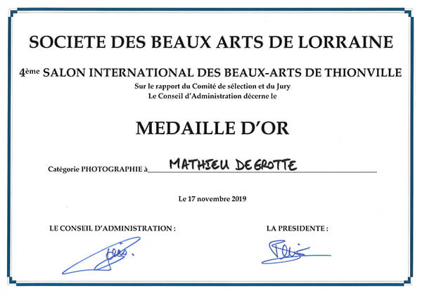 medaille d'or de photographie de Mathieu Degrotte